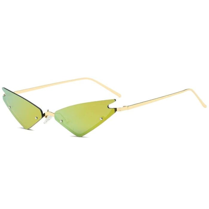 MIRROR CAT EYE SUNGLASSES - Green