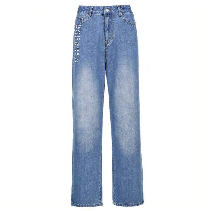 NUMBERS BAGGY BLUE JEANS - Blue / S