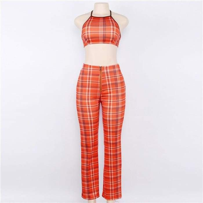 ORANGE PLAID SET - Orange / XXL