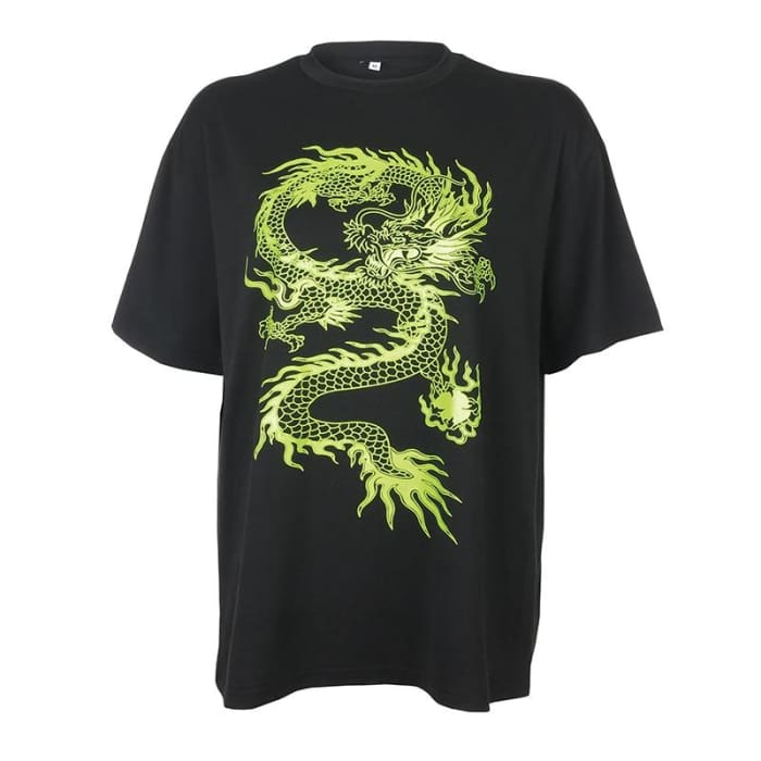 OVERSIZED DRAGON TEE - Black / M