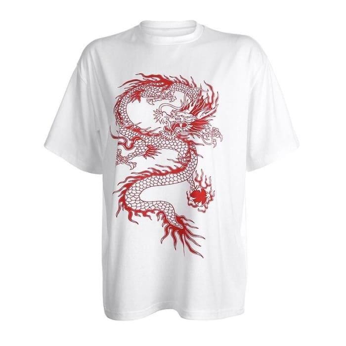 OVERSIZED DRAGON TEE - White / L