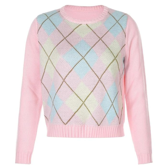 PINK CHECKED SWEATER - L / Pink
