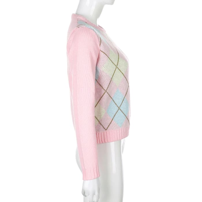 PINK CHECKED SWEATER