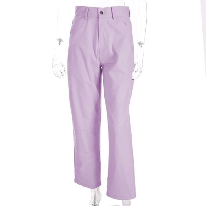 PINK STRAIGHT PANTS - Pink / L
