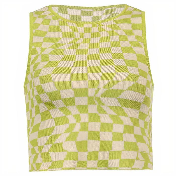PLAID KNITTED VEST - Yellow / L