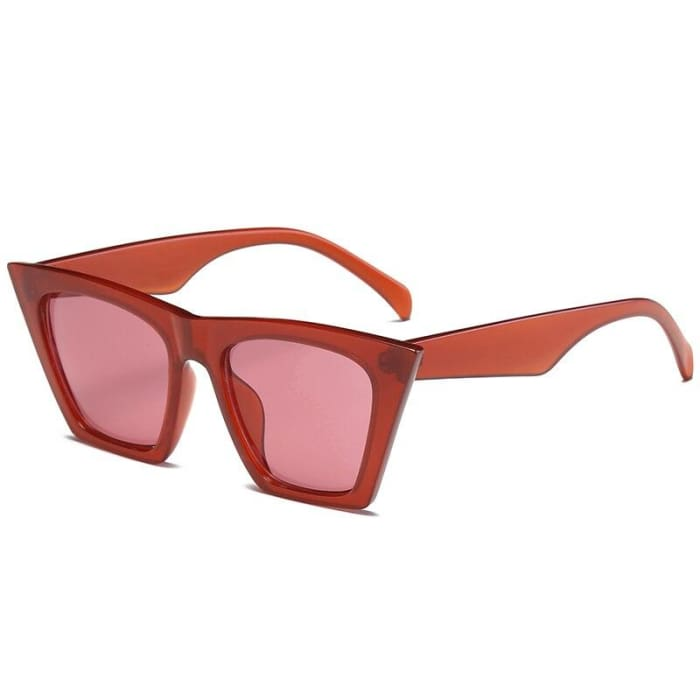 RECTANGULAR CAT EYE SUNGLASSES - Red