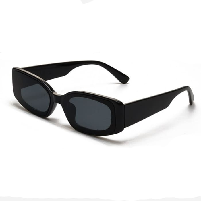 RETRO RECTANGULAR SUNGLASSES - Black