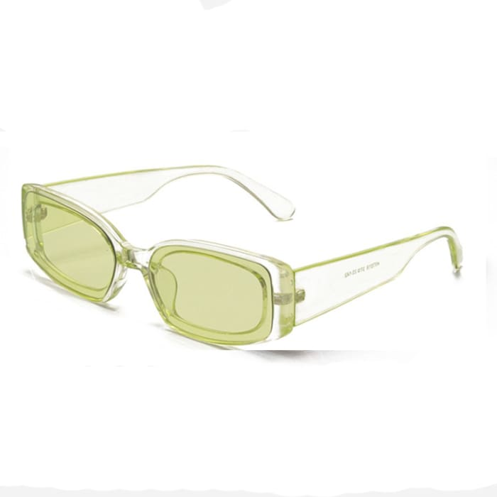 RETRO RECTANGULAR SUNGLASSES - Green