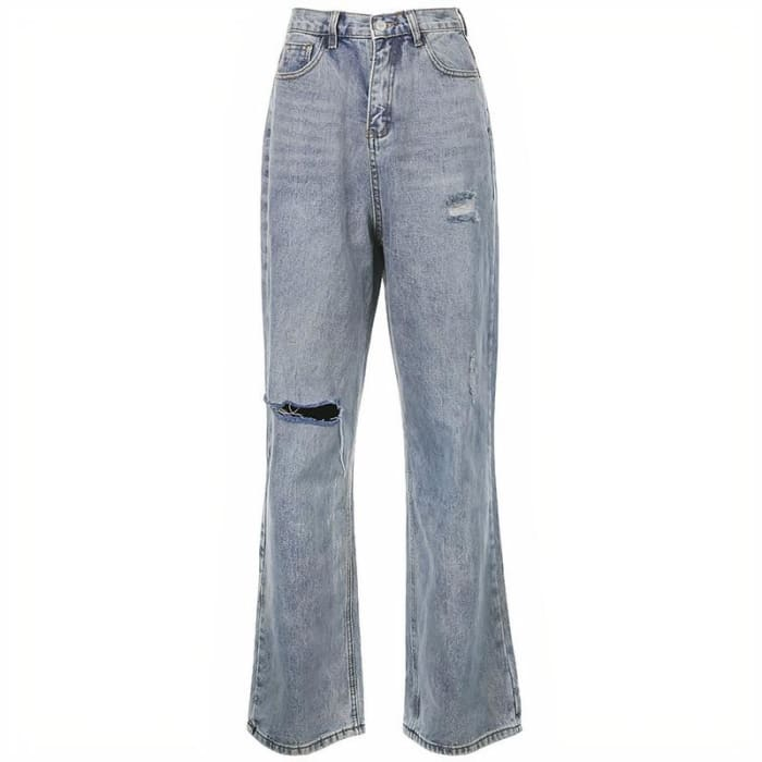 RIPPED BLUE JEANS - Blue / L