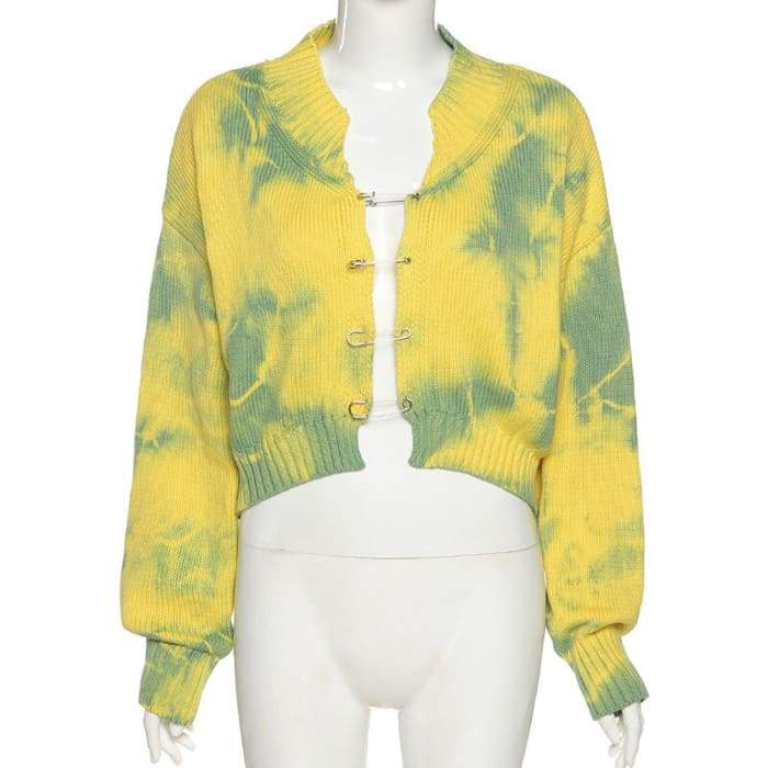 TIE DYE CARDIGAN - Green / One Size