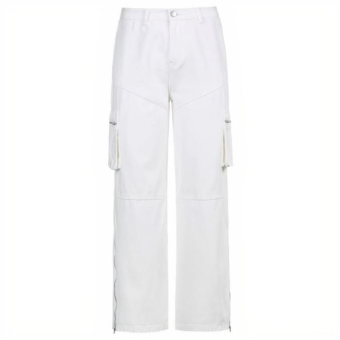 WHITE ZIPPER CARGO PANTS - White / S