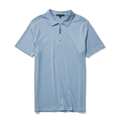 THE BARAKETT ZIP POLO - Faded denim