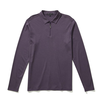 THE BARAKETT LS ZIP POLO - Winter purple