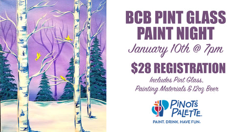 an advertisement for painting a pint glass at BC