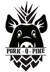 pork.q.pine logo, a pig merged with a pineapple with the words across the mouth