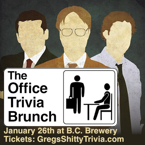 a cartoon image of the office, trivia takeover brunch January 26