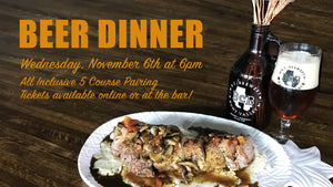 image of a plate of tenderloin with gravy and risotto, a bcb beer next to it.  text stating Beer dinner, Nov 6, purchase tickets on website. full details in the body of the product listing