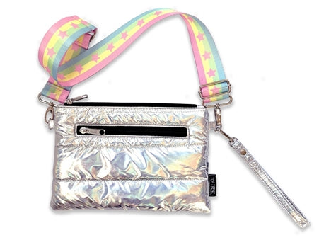 Top Trenz Puffer Fanny Pack With Multi Star Strap | Iridescent