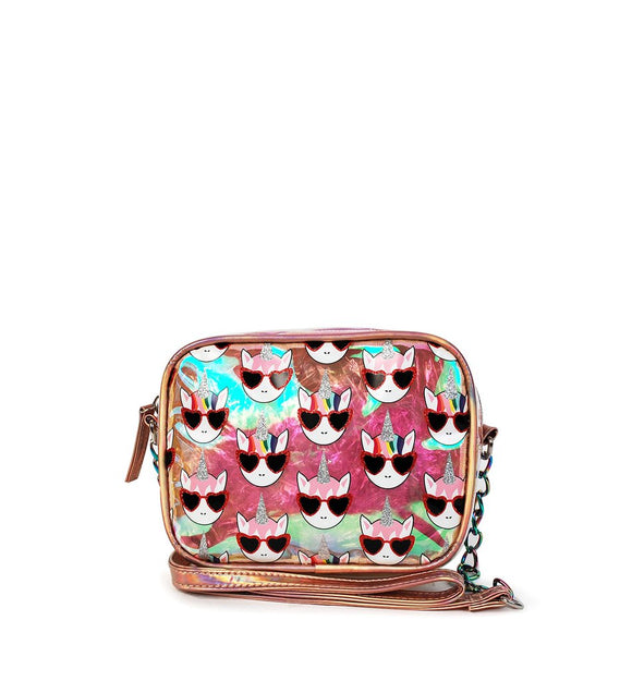 Omg! Accessories  Whimsical Cool Unicorn Print Clear Crossbody