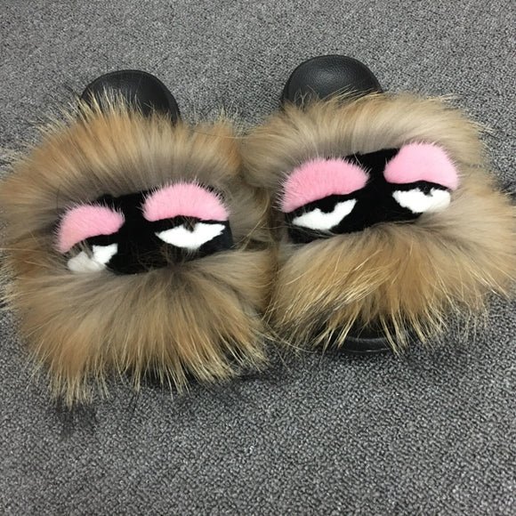 Fendi Inspired Monster Slides | Natural