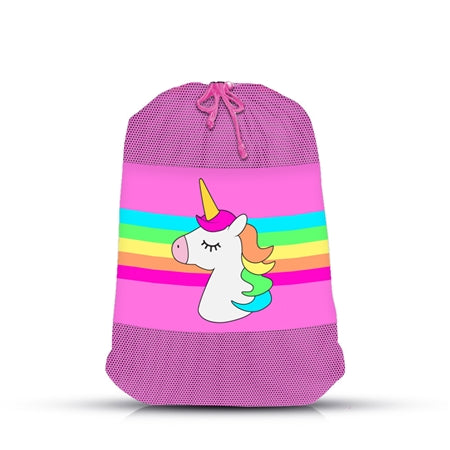 Top Trenz Unicorn Stripe Mesh Laundry Bag