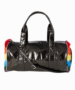 Bari Lynn Fur Striped Duffel Bag | Black