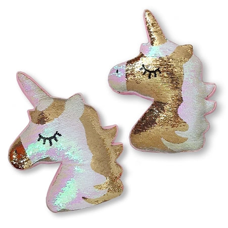 Top Trenz Reversible Metallic Sequin Gold Unicorn Pillow