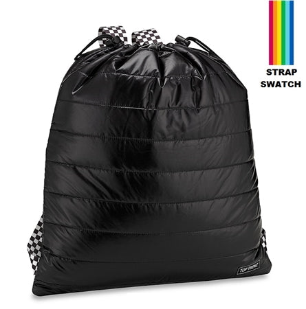 Top Trenz Puffer Sling Backpack Bag w/ Rainbow Straps | Black