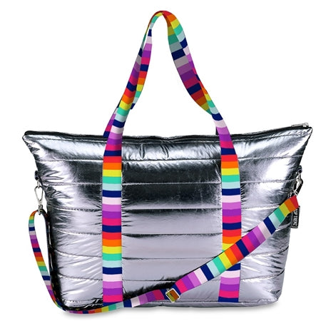 Top Trenz Metallic Puffer Tote With Horizontal Multi Straps