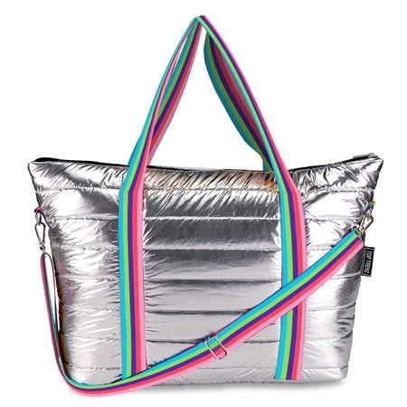 Top Trenz Metallic Puffer Tote With Purple Rainbow Strap