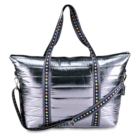 Top Trenz Metallic Puffer Tote With Multi Star Straps