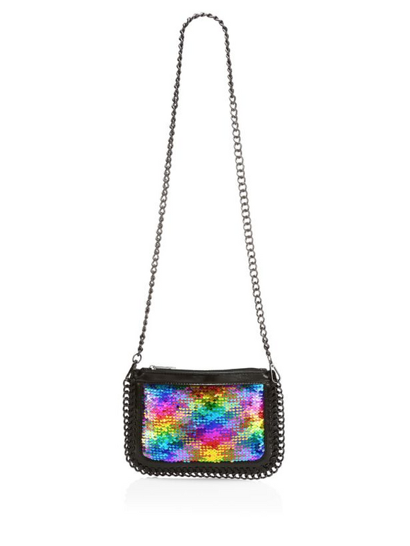Bari Lynn Sequin Chain Crossbody/Clutch Bag | Rainbow