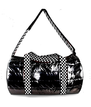 Top Trenz Metallic Puffer Duffel With Checkered Strap | Black