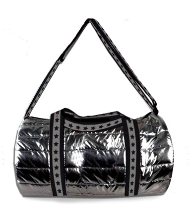 Top Trenz Metallic Puffer Duffel With Star Straps | Metallic