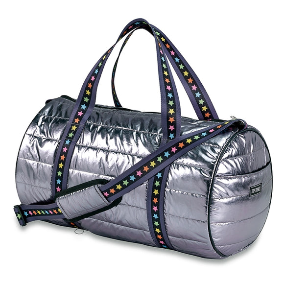 Top Trenz Metallic Puffer Duffel With Multi Star Straps | Gunmetal