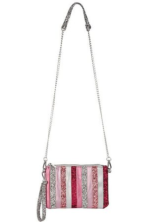 Bari Lynn Glitter Stripe  Crossbody/Clutch Bag | Pink