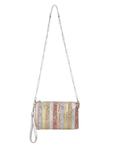 Bari Lynn Glitter Stripe Crossbody/Clutch Bag | Gold