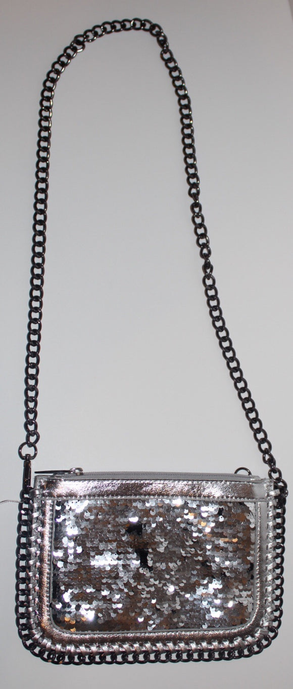 Bari Lynn Sequin Chain Crossbody/Clutch Bag | Silver