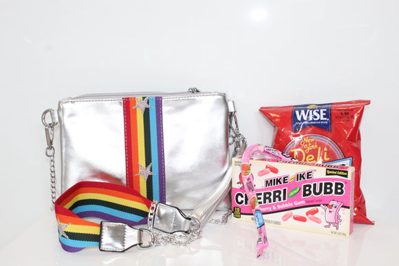 Bari Lynn Rainbow Star Metallic Crossbody Bag Camp Package