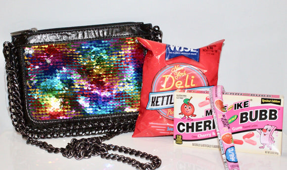 Bari Lynn Flip Sequin Crossbody Bag Camp Package