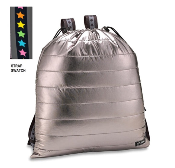Top Trenz Puffer Sling Backpack w/ Colored Star Straps | Gunmetal Metallic
