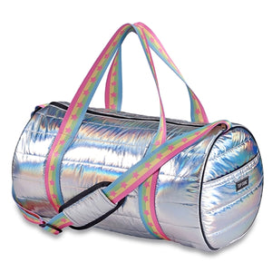 3382cbe36001 Top Trenz Metallic Puffer Duffel With pastel rainbow stars strap | Silver  Metallic