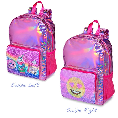 Top Trenz Metallic Reversible Sequin Backpack Heart Eyes | Pink