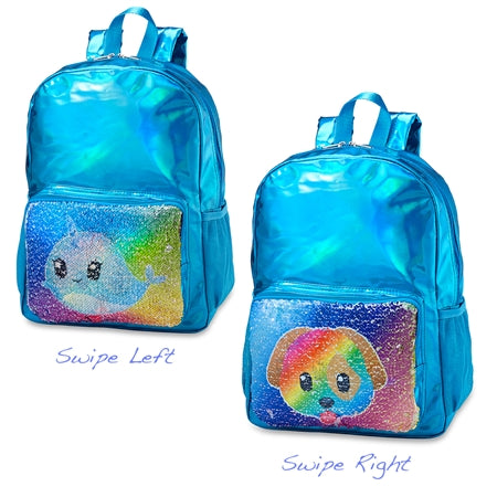 Top Trenz Metallic Reversible Sequin Backpack Narwhal Puppy | Blue