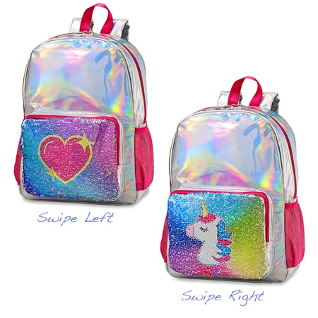 Top Trenz Metallic Reversible Sequin Backpack Unicorn Heart | Holographic Pink