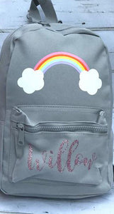Personalized Rainbow Backpack | Light Grey