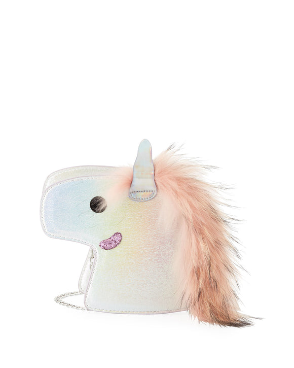 Bari Lynn Unicorn  Crossbody/Clutch Bag w/ Fur Mane | Iridescent