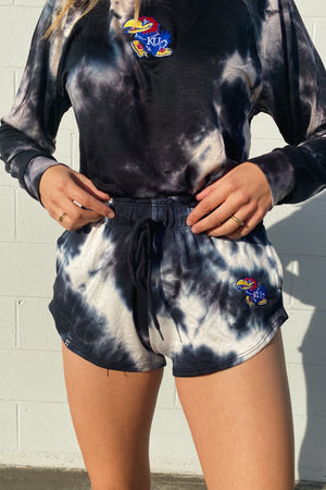 Load image into Gallery viewer, MTO University of Kansas Tie Dye Dreams Shorts