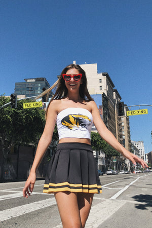 Load image into Gallery viewer, Black and Gold Cheerleader Skirt
