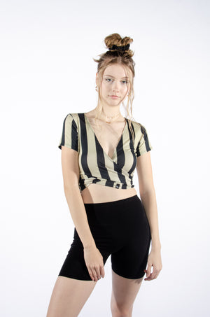 Black and Tan Gold Wrap Top - Hype and Vice